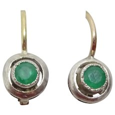 Vintage Tiny 14 karat Gold and Silver Emerald Earrings