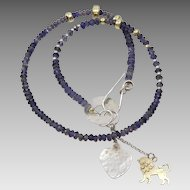 Judaica , Gold, Silver ,Gold Filled and Iolite Necklace