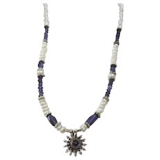 Iolite Pearl and Silver Necklace