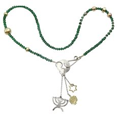 """Green onyx , Silver , Gold and Gold Filled """"Judaica"""" Necklace"""