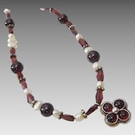 Garnet . Pearl and Sterling Silver  ethnic necklace