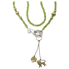 """Peridot , Silver , 9 karat Gold and Gold Filled """" Judaica"""" necklace"""