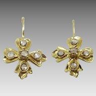 Handmade 18 karat Gold and Diamante Earrings
