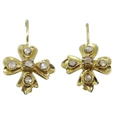 Handmade 18 karat Gold and Diamante Earrings