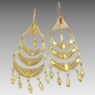 Vintage 21 karat Gold Chandelier Filigree Earrings
