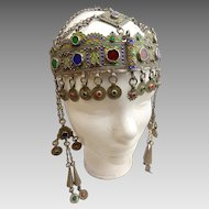 Antique Berber Kabyle Silver and Enamel Headdress from Algeria