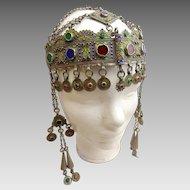 Antique Berber Kabyle Silver and Enamel Headdress from Algeria