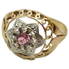 Vintage 18 karat Rose and White Gold Pink Tourmaline Ring