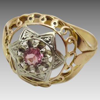 Vintage 18 karat Rose and White Gold Pink Tourmaline Ring