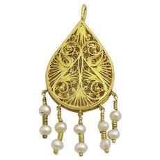 Vintage 18 karat gold Handmade Moroccan Pendant