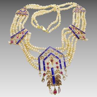 Vintage - Antique 14 karat Gold and Enamel Bahrain Pearl Necklace
