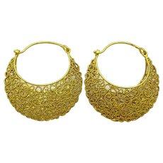 Handmade in the Orrisa style 18 karat Gold Filigree Earrings