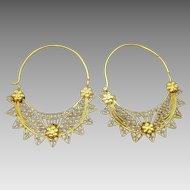 Vintage Islamic 18 karat Gold Hoop Earrings