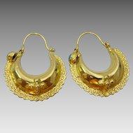 Vintage 18 karat Hoop Earrings from Garwhal , India