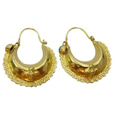Vintage 18 karat Hoop Earrings from Garwhal , India