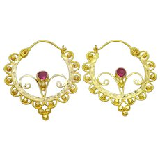 Traditional 18 karat Gold Hoop Earrings from Uttrakhand , India