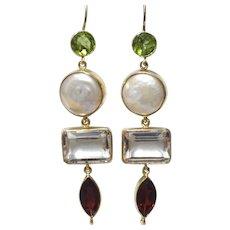 Handmade 9 karat Gold Multi Stone Chandelier Earring
