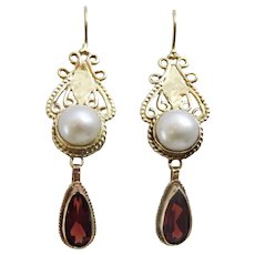 Hand Crafted 9 karat Gold and Iolite Earrings