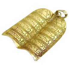 Vintage Moroccan 14 karat gold engraved Ten Commandments Pendant