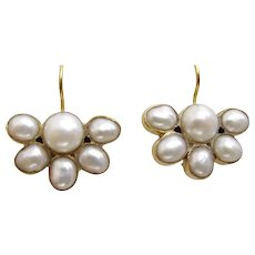Handmade 9 karat Gold Pearl Fan Earrings