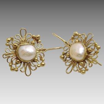 Handmade artisan 9 karat Gold and Pearl Earrings