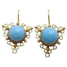 Handmade 9 karat gold and Turquoise Wire work Earring