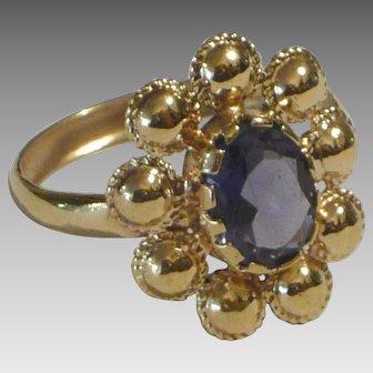 18 karat Gold and Iolite Handmade Ring