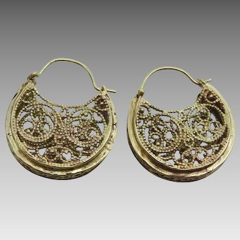 Handmade 9 karat Gold Basket of Plenty Earrings