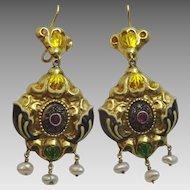 Antique 14 karat gold , Enamel , Ruby and Diamond Austrian Earrings