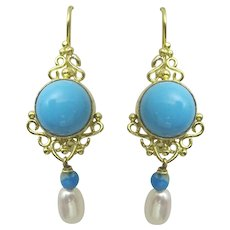Handmade 18 karat Gold and Turquoise earrings
