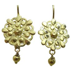 Handmade 18 karat Gold Earrings in the Kurdish Style