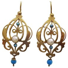9 karat Gold Pearl and Turquoise Earrings in the Lavelle Style