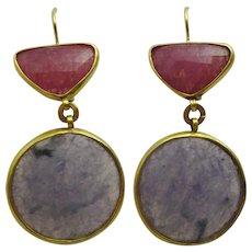 Handmade 24 karat Gold and two colour corundum Earrings