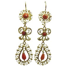 Handmade Mexican inspired 18 karat Gold and Coral Earrings