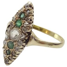 "Vintage Diamond and Emerald Gold Cocktail ""Eye Ring """