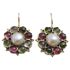Handmade Pearl and Multi Tourmaline 9 karat Gold Earrings
