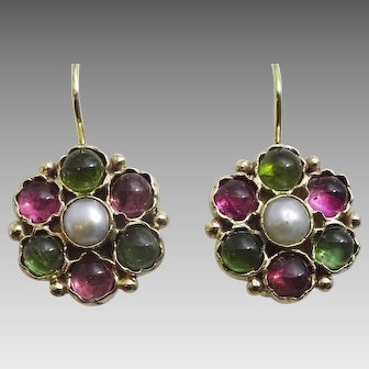 Handmade Pearl and Multi Tourmaline 9 karat Gold Earrings (Small Version )