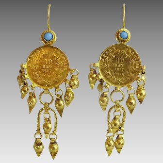 Antique Near Eastern 21 - 22 karat Gold Earrings