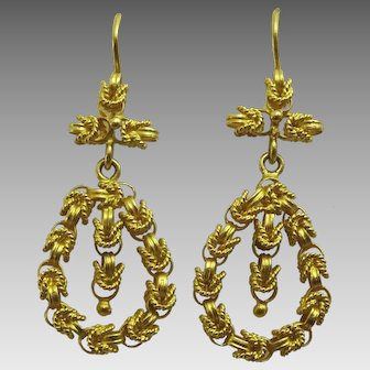 Vintage 22 karat Gold Earrings from the Near East