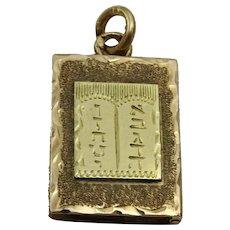 Vintage 14 karat Gold Ten Commandments Box Pendant