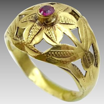 Vintage 22 karat Gold and Ruby Engraved Ring from North India