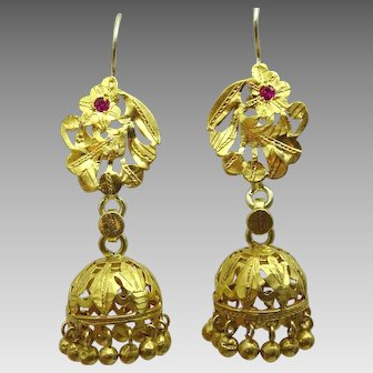 Vintage 22 karat Gold Vintage Chandelier Earrings from North India
