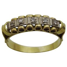 Vintage Handmade 18 karat Gold and Diamond Ring