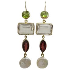 Handmade Peridot . Garnet , Rock Crystal and Coin Pearl 9 karat Gold Earrings