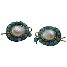 Handmade 9 karat Gold Pearl and Turquoise Earrings