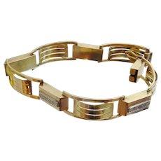 Vintage Handmade 14 karat two tone gold and silver Bracelet