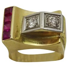 Vintage late Art Deco Cocktail Ring , set with Rubies and Diamonds