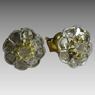 Vintage 18 karat Yellow and White Gold Rose cut Diamond Earrings