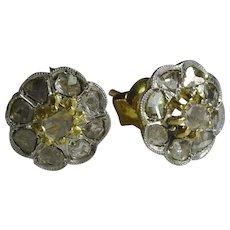 Vintage 18 karat Yellow and White Gold Rose cut Diamond Earrings