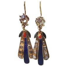 Antique 9 karat Gold Enamel and Diamond Earrings